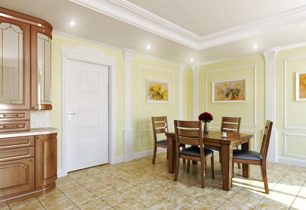 Отделка окон, дверей и стен лепным декором в интерьере Пилястры дополняют композицию