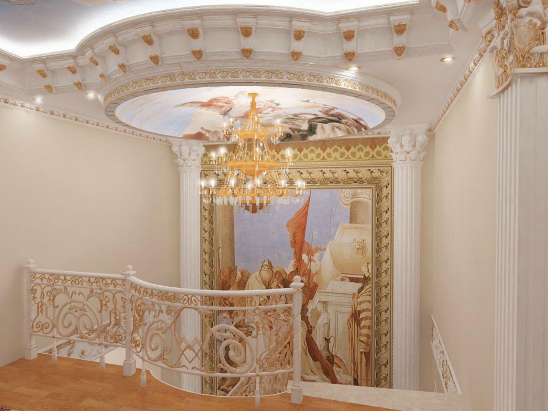 Лепной декор в интерьере: Купола и кессоны из пенопласта с мраморным покрытием
